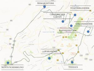 Stuttgarter Aussichtspunkte Karte Übersicht Route